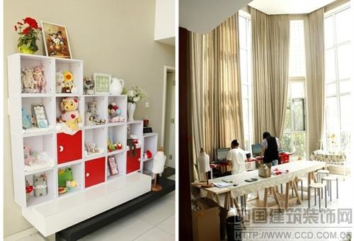 工作室,迎面是暖色的窗帘,碎花的桌旗,以及点缀在四处可爱又充满生趣