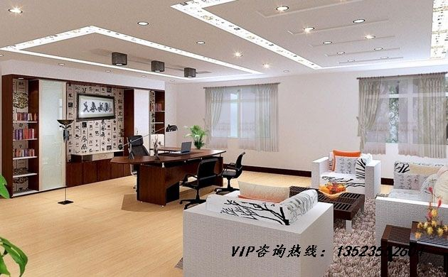 郑州老板办公室背景墙设计 背景装修效果图