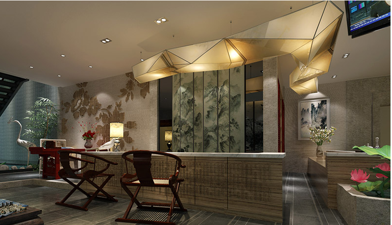 郑州新中式酒店大堂设计方案高清图片