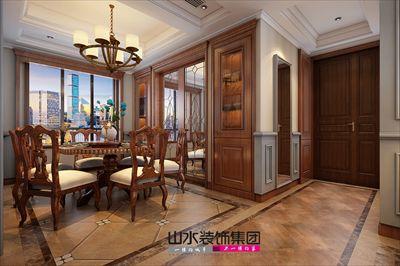 客餐厅地面使用复古拼花地砖,墙面以灰蓝色为主,搭配简洁的石膏线条图片