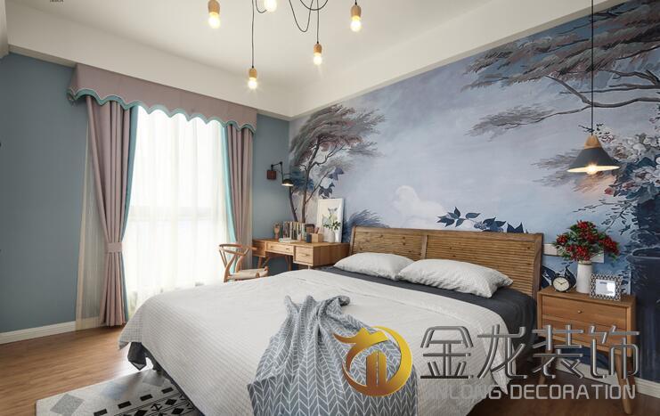 主卧室和整体风格统一,个性定制墙布的运用提亮空间,床头的写字台的图片