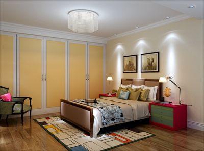 欧式设计手法,景观套卧,界面区繁就简,简单的暖色墙漆,原木色的地板