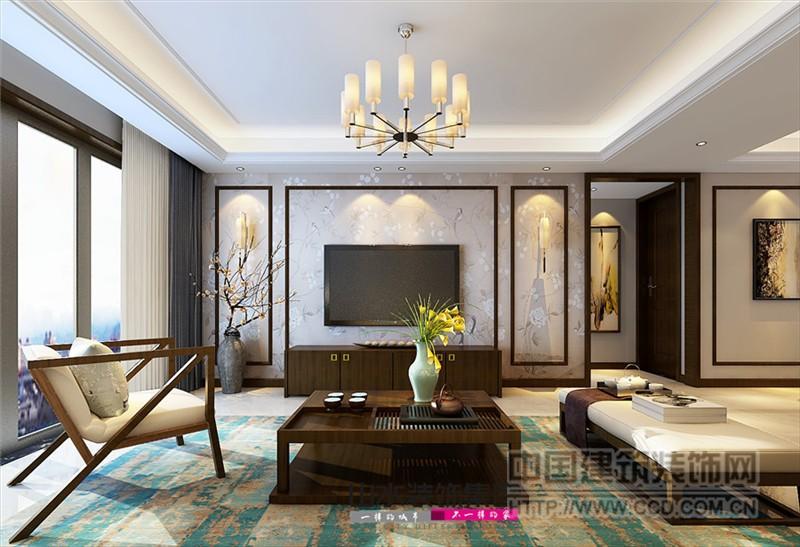 客厅电视背景墙以花鸟壁纸装饰,然后设计了木质边框,增加了中式的韵味