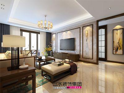 然后设计了木质边框,增加了中式的韵味,沙发背景墙反而简洁大方,仅仅