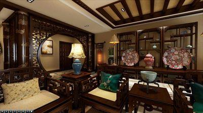 电视墙采用中国古典式的屏风以及悬挂的灯笼式壁灯;梯形吊顶烘托暖