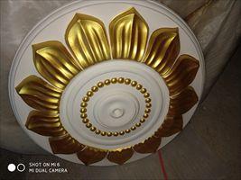 石膏线条灯盘吊顶装饰描金色造型设计