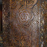 304玫瑰金镜面不锈钢通花屏风隔断幕墙隔断
