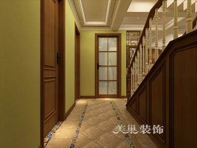 郑州和昌悦澜120平三室两厅装修效果图-美式休闲风瓷砖拼花
