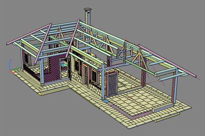 景观CAD模型-景观民居