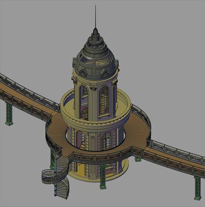 景观CAD模型-景观塔楼