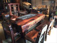 船木龙骨茶台套装 船木家具 茶室案例