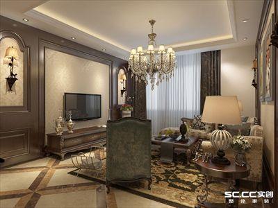 晓港名城三居室140平美式装修风格10万元