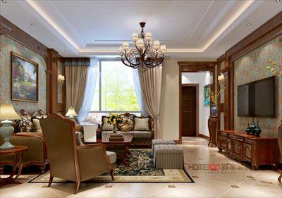 孔雀城300平美式风格半包14万
