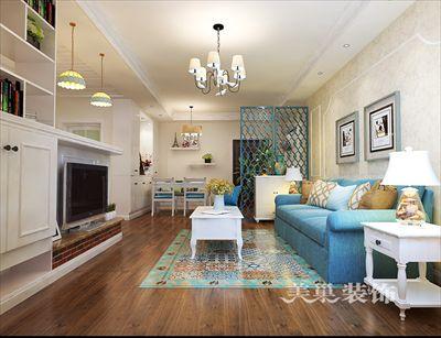 郑州豫翠园105平两居室装修改造田园风背景墙收纳设计