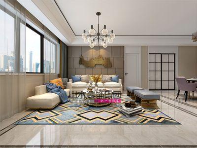 颍上紫金名苑110平米三室两厅轻奢风设计