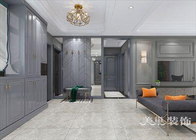 郑州宏江瀚苑后现代黑白灰装修案例130平三室两厅样板间