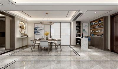 鲁能泰山7号院350平方装修|现代中式