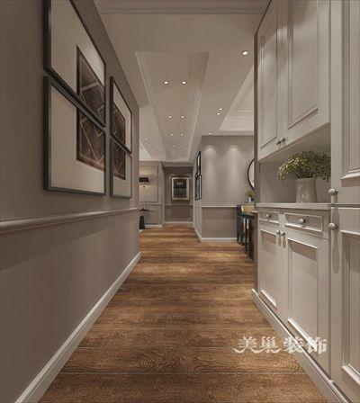 美巢郑州永威城123平三室两厅装修简美风格护墙板设计样板间