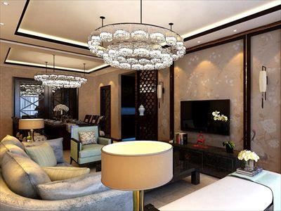 格林阳光城120㎡新中式风格3居室