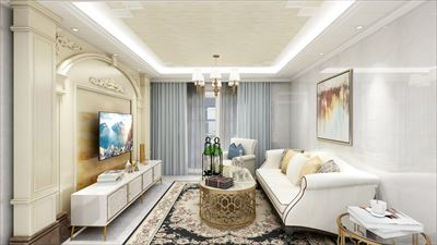 103平米欧式风格三室效果图