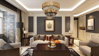 114平方欧式风格三居室效果图