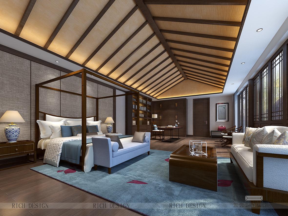 中式别墅主人房装修设计效果图