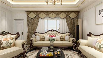 107平方欧式风格三居室效果图