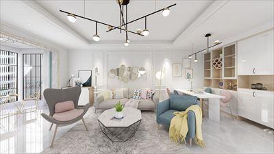 77平方现代风格三居室效果图