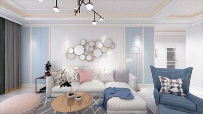 111平方北歐風格三居室效果圖