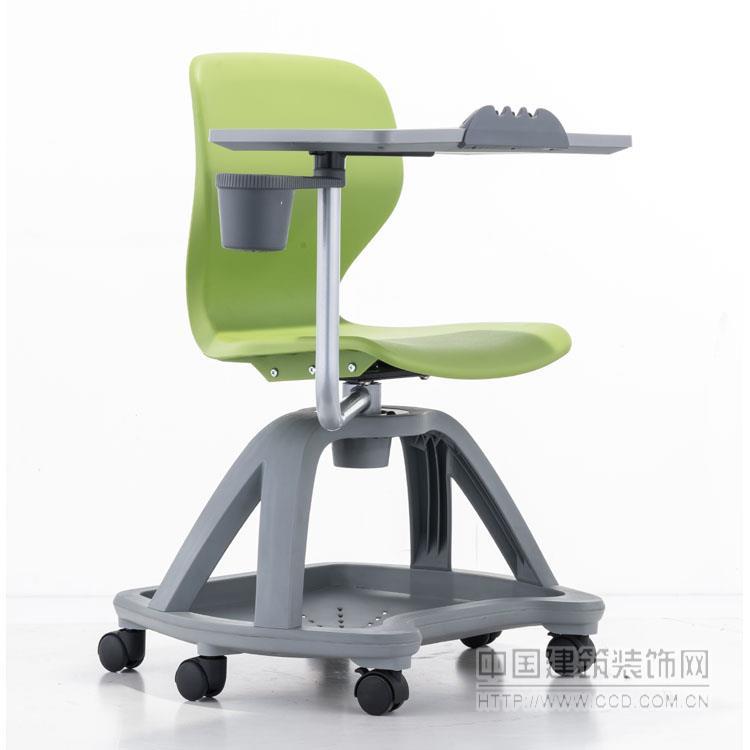 可旋转培训椅 带写字板学习椅 高校多媒体课桌椅