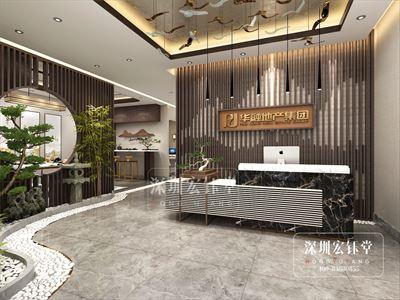 郑州华融地产新中式奢华办公室装修效果图