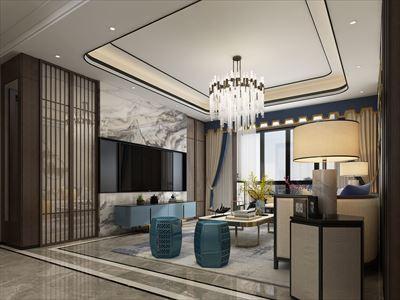 145平三居新中式风格,雍湖湾装修案例