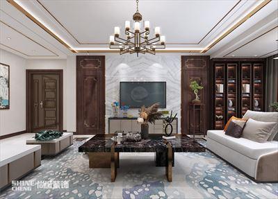 泰安硕园小区140m2新中式风格装修设计