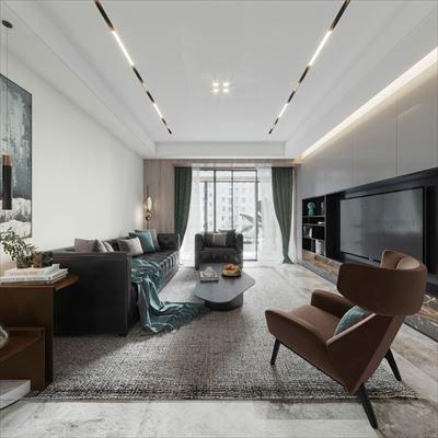 保利香槟国际142平方米三居室装修效果图
