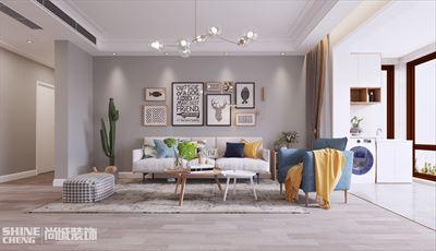 泰安恒基名筑小区北欧风格三室两厅装修设计