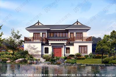 农村自建中式别墅庭院设计效果图两层