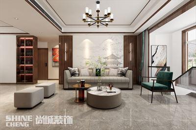 肥城紫郡府130㎡一楼+地下新中式风格装