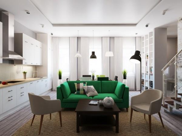 绿色调装修 森林风复式公寓设计(组图)