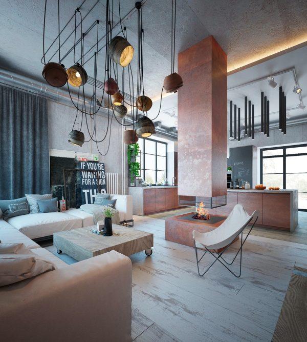 建筑欣赏:明斯克温暖色调的280平工业风格住宅设计(组图)